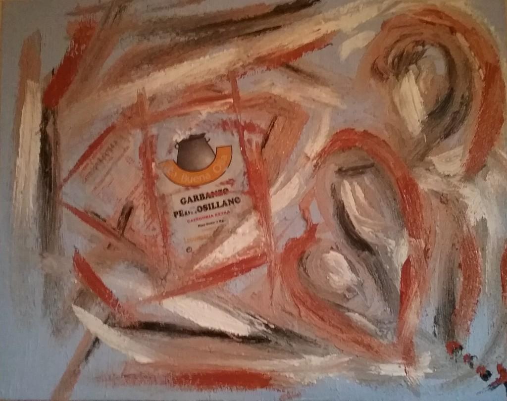 """""""Más que un kilo"""" / collage / tela y óleo sobre lienzo / 60x100 cm / 2016"""