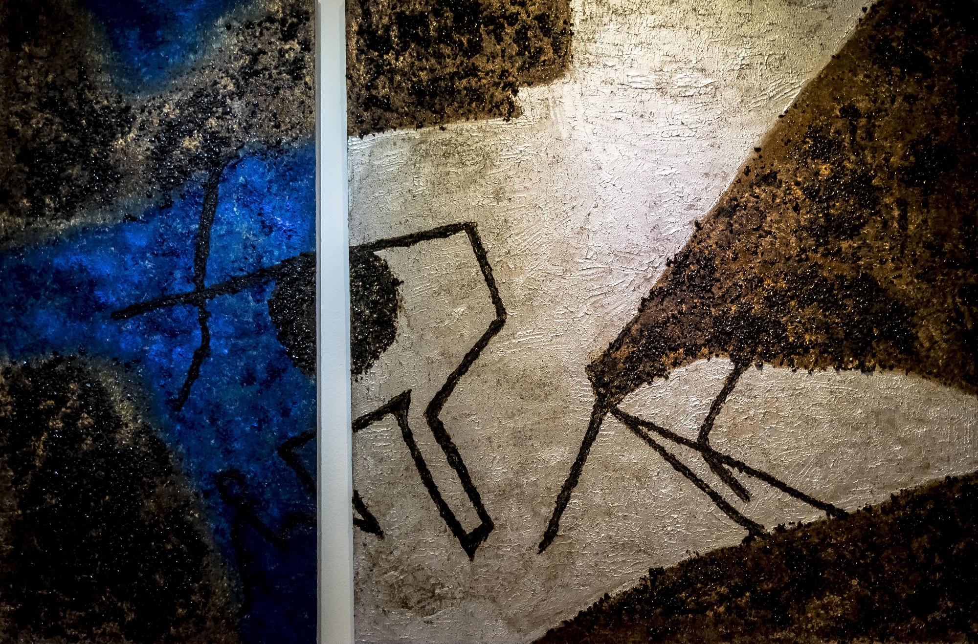 Díptico/ Óleo y café sobre lienzo/ 100 x 180 cm/ Charo Artadi/ Perú 2018