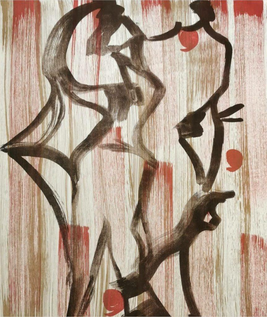Litografia El Baile de las uvas, creada por Charo Artadi