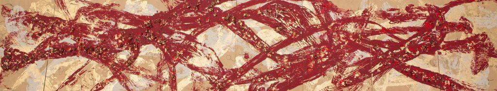 Estampado de telas sobre tablas, arte mural, Charo Artadi